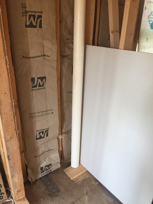 Drywall Or Put Wood Around The Pipe Alone And Box The Pipe In Or Just Make  The Closet Shorter By 4 Inches And Cover The Whole End Of Closet. :(