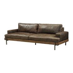 "95""x39""x32"" Distressed Chocolate Top Grain Leather Sofa"
