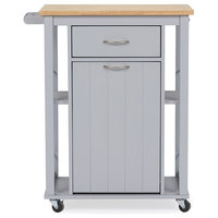Yonkers Kitchen Cart With Wood Top, Light Gray