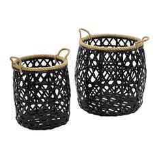 Black Bamboo Storage Baskets, 2-Piece Set