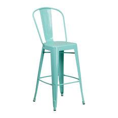 "30"" High Mint Green Metal Indoor/Outdoor Barstool With Back"