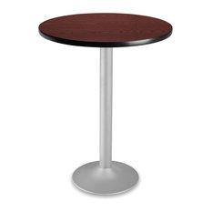 """Ofm 30"""" Round Folding Cafe Table, Mahogany"""