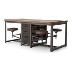 rupert industrial architect work table desk with attached seating drafting tables - Drafting Tables