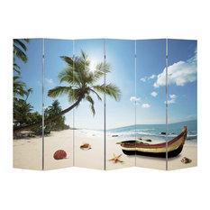 """6-Panel Room Divider Folding Double Sided Screen Beach Print 94.5""""x70.9"""""""