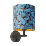Modern Wall Lamp Dark Grey with Shade 20/20/20 Velvet Peacock with Gold