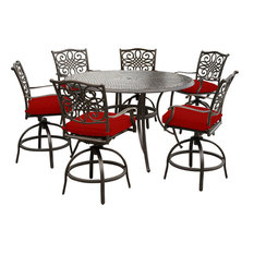 """Traditions 7-Piece High-Dining Set With 6 Swivel Chairs and 56"""" Cast-Top Table"""