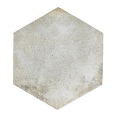 """14.13""""x16.25"""" Tremont Ferro Hex Porcelain Floor and Wall Tile, Bianco, Set of 9"""