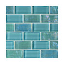 """12""""x12"""" Glass Tile Blends Twilight Series, Turquoise"""