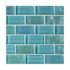 "12""x12"" Glass Tile Blends Twilight Series, Turquoise"