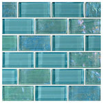 "artistryinmosaics - 12""x12"" Glass Tile Blends Twilight Series, Turquoise - Revitalize well-loved surfaces with the brilliance of the Blends Twilight Series Glass Tiles. These glass mosaic tiles are ideally suited for swimming pools, walls, backsplashes and floors, and their handmade, frost-proof quality ensures that they'll be a striking addition for years to come. The Artistry in Mosaics, Inc. brand strikes to create contemporary products with a modern edge, and these tiles fit that bill."