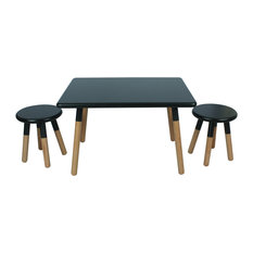 3 Piece Kids Table Set Matte Black Finish