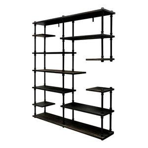 Nashville Industrial Mid-Century Etagere Bookcase, Black Steel/Dark Wood