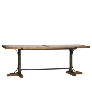 Wood and Stone Top Dining Table
