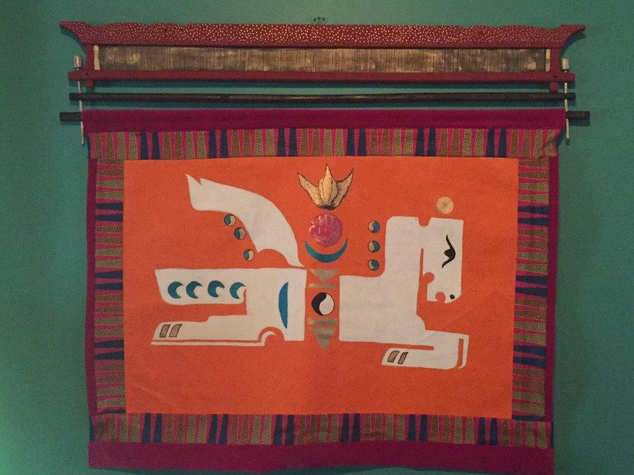Tibetan WindHorse Mixed Media Wal Hanging on Hand Painted Tibetan Tongka Hanger