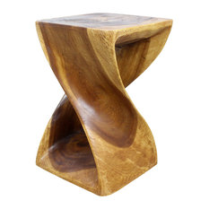 Haussmann Inc.   Sustainable Monkey Pod Wood Twist Stool, Livos Walnut Oil  Finish,