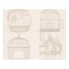 BIRDCAGE BIRD CAGE BEIGE METALLIC  FEATURE WALLPAPER A.S.CREATION 8945-33
