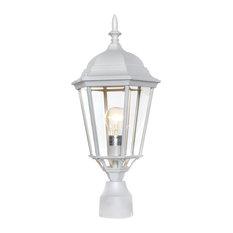 Westlake Cast 1-Light Outdoor Post Lantern, White, Clear