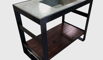 Custom Steel and Reclaimed Oak Bath Vanity Bases w/Custom Cast Concrete Top and