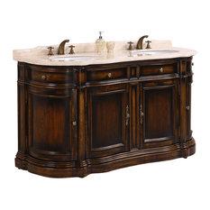 "66"" Double Sink Bathroom Vanity With Cream Marble"