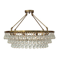 Lightupmyhome Celeste Flush Mount Glass Drop Crystal Chandelier, Brass, 32""