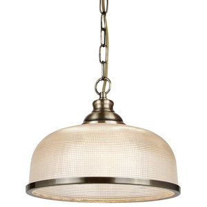 Bistro Single Pendant, Halophane Glass, Antique Brass