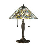 Table Light - Tiffany style glass & dark bronze paint with highlights
