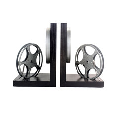 Vintage 8mm Film Reel Bookends - DVD Holder - Movie Theater Decor, Silver Gray