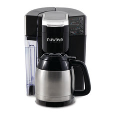 NuWave Bruhub Single Serve Coffee Maker with Stainless Steel 40 Ounce Carafe
