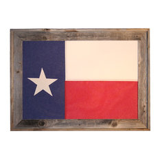 3'x5' Foot Cotton Texas Flag in Reclaimed Wood Frame