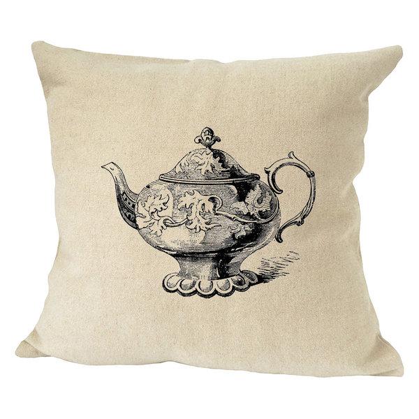 Teapot Vintage Look Sofa Bed Decor Faux Linen Pillow Cover