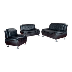 Emory 3-Piece Sofa and Love Seat Set, Black