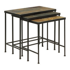 Aspen Leaf   Slate Topped 3 Piece Nesting Tables   Side Tables And End  Tables