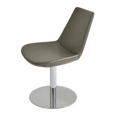 Eiffel Round Dining Chair, Stainless Steel Base, Gray And Bronze Italian Ppm