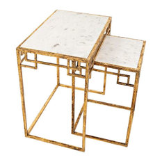 Global Archive Marble and Matte Gold Nesting Tables, Set of 2