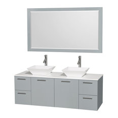 """Amare 60"""" Wall Mounted Double Vanity Dove Gray, White Stone Top, 58"""" Mirror"""