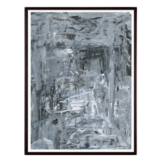 """Gray Abstract Expressive Painting Print, 23""""x32"""", Black Frame"""