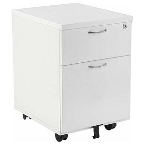 Modern Storage Cabinet, Solid Wood With 2-Drawer, Lockable Design, White