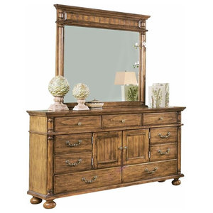 Colton Country Western Door Dresser and Mirror in Antique Pine