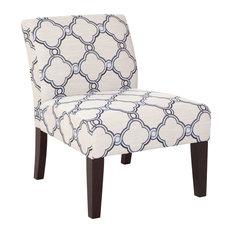 Blue Quatrefoil Armless Slipper Chair