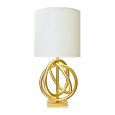 3-Ring Table Lamp With White Linen Shade, Gold
