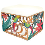 Jo-Liza International - Willow Ottoman - ottoman with multi colored parrot and flower designs