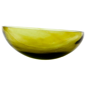 Retro Round-Bottomed Glass Bowl, Olive