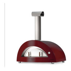 """Allegro 39"""" Countertop Wood Fired Pizza Oven, Antique Red"""