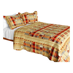 Enthusiasm Waltz 3PC Vermicelli-Quilted Plaid Patchwork Quilt Set (Full/Queen)