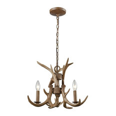 Country / Cottage 3 Light Chandelier in Wood Brown Finish