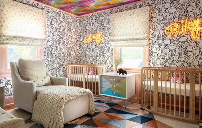 Colorful and Energetic Nursery for Newborn Twin Girls