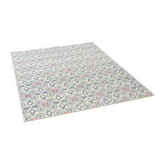GDF Studio Orr Outdoor Floral Area Rug, Blue and Ivory, 8'x10'