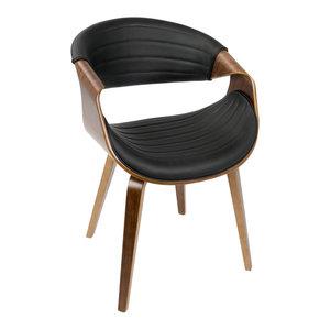 LumiSource Symphony Dining Chair, Walnut Wood and Black PU
