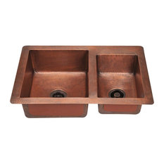 Offset Double Bowl Copper Sink, Sink Only