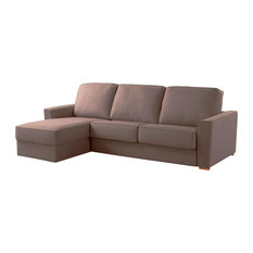 Wales Left Chaise Longue Sofa Bed, Tobacco